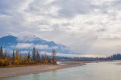 Rocky Moutains and river from the town of Golden in BC, Canada. View of the Rocky Moutains and Kicking Horse river from the town of Golden in British Columbia stock photos