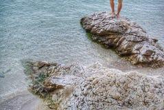 rocky na plaży Obrazy Stock