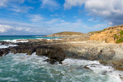 Rocky Newquay coast Cornwall England UK at Little Fistral and Nun Cove Stock Images