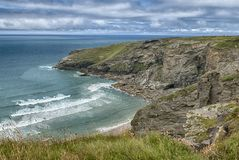 Rocky North Coast near Trebarwith Strand. Rocky North Coast as the storm clears near Tintagel and Trebarwith Strand, Cornwall, UK stock images