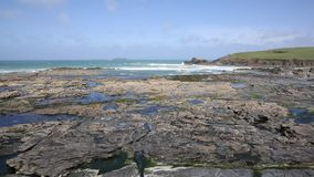 Rocky North Cornwall coast Newtrain Bay near Padstow and Newquay stock footage