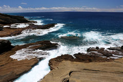 Rocky Сoastline Blue Ocean Hawaii. Royalty Free Stock Photo