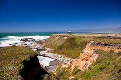 Rocky ocean coastline. Scenic view of waves breading on rocky ocean coastline Royalty Free Stock Image