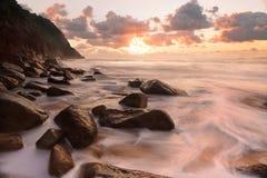 Rocky ocean flows Zenith Beach Seascape Stock Image