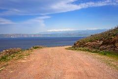 Coastline of Crete, Greece. Rocky off road on Crete on the way to Balos beach, Greece Royalty Free Stock Photography
