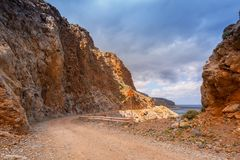Rocky off road on Crete on the way to Balos beach. Greece royalty free stock photos