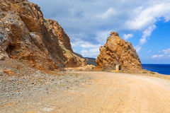 Rocky off road on the way to Balos beach, Crete Royalty Free Stock Images