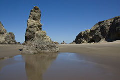 Rocky Oregon Beach. Beautiful sunny clear blue day on a rocky oregon beach stock image