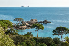 Rocky outcrop and coastline near Palombaggia in Corsica Royalty Free Stock Photography