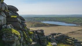 Rocky outcrop on Dartmoor. The landscape of Dartmoor in Cornwall and Devon, England Stock Photos