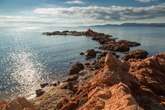 Rocky outcrop at Palombaggia beach in Corsica Stock Images