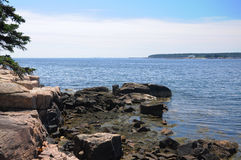Rocky outcropping along Schoodic Peninsula Royalty Free Stock Images