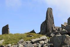 Rocky outcrops on Bera Mawr Stock Photo