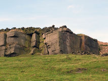 Rocky outcrops boulders and stone walls in yorkshire Royalty Free Stock Images