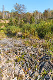 Rocky outcrops of the Salair ridge have gold of the river Suenga Royalty Free Stock Image