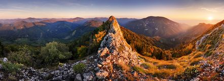 Rocky Panorama of sunset in mountain valley landscape.  royalty free stock image