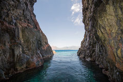 Rocky passage in the Gulf of Porto Royalty Free Stock Image