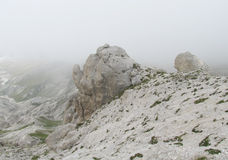 Rocky path in clouds in Apennine Mountain Range Royalty Free Stock Image