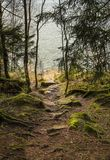 Rocky path to the lake Stock Photo