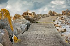 Rocky path to clouds in Norway, Europe. Rocky path to clouds in Norway, Scandinavia, Europe Royalty Free Stock Photo