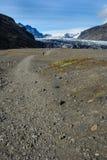 Rocky path to Skaftafellsjokull glacier, in Skaftafell, Iceland. In summer Stock Image