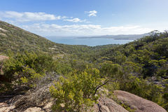 Rocky path and vegetation along trail up to Wineglass Bay lookou Stock Photos