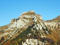 Rocky peak Dejenstogg or Dejenstock in the Glarus Alps mountain range stock photos