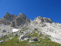 Rocky peak and green valley of Apennine Mountain Range in summer Royalty Free Stock Photo