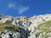 Rocky peak and green valley of Apennine Mountain Range in summer Stock Photos