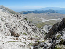 Rocky peak and green valley of Apennine Mountain Range in summer Stock Photography