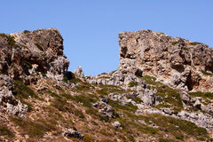 Rocky peak on the island of Crete Royalty Free Stock Photos