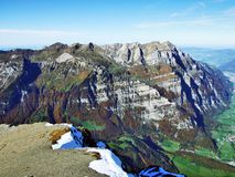 Rocky peak Wiggis in the Glarus Alps mountain range. Canton of Glarus, Switzerland royalty free stock photography