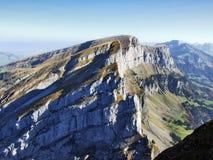 Rocky peak Zuestoll in the Churfirsten Mountain Range. Canton of St. Gallen, Switzerland stock photography