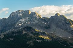 Rocky peaks in high mountain. Rocky peaks in high  albanian mountain Royalty Free Stock Images