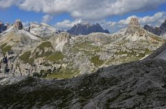 Rocky peaks of Italian Dolomites Stock Photos