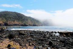 Rocky Pebble Beach och hav arkivbild