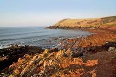 Rocky Pembrokeshire Coastline, Manorbier Bay Stock Photography