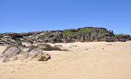 Rocky Penguin Island: Beach with Dunes Royalty Free Stock Image