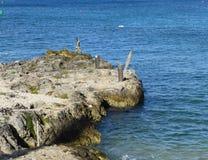 Rocky Pier in Grand Cayman Lizenzfreie Stockbilder