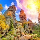 Rocky pillars on the Upper Yalangas Mountain Top. In the sun stock images