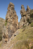 Rocky pinnacles landscape in Boqueron route. Cabaneros, Spain Stock Image