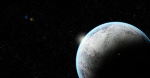 Rocky planet in space with lens flare. An illustration of a rocky planet with faint blue atmosphere on a background of stars in space Stock Image