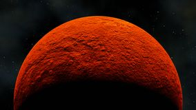 Rocky planet under red light star, 3d render Stock Illustration
