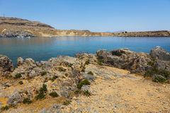 Rocky plateau in Lindos Royalty Free Stock Images