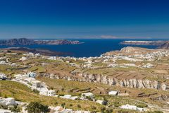 Rocky plateau whith white houses in Greek island Santorini Royalty Free Stock Photography