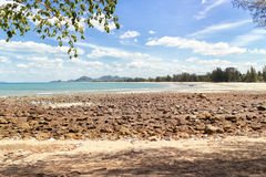 Rocky point overlooking the bay near Thap Sakae. Thailand Stock Photo