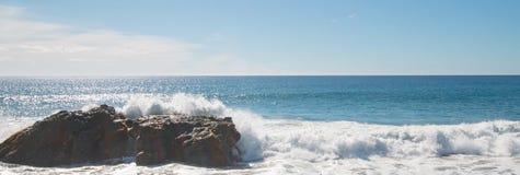 Rocky Point surf break at Cerritos Beach between Todos Santos and Cabo San Lucas in Baja California Mexico. Rocky Point Break at Cerritos Beach between Todos Stock Photography