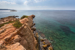 Rocky promontory in the Aegean sea near Athens. Nature. Stock Photography