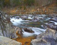 Rocky rapids II. Rushing water through Johnson's Shut-ins state park in Missouri on the Black river Stock Photography