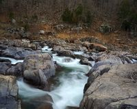 Rocky rapids III. Rushing water through Johnson's Shut-ins state park in Missouri on the Black river Royalty Free Stock Photo